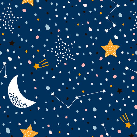 Nahtloses kindliches Muster mit nächtlichem Sternenhimmel. Kreative Kindertextur für Stoff, Verpackung, Textil, Tapete, Bekleidung. Vektorillustration