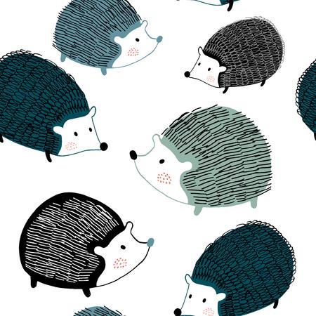 Nahtloses Muster mit durch Tinte gezeichneten Igeln. Kreativer skandinavischer Hintergrund. Vervollkommnen Sie für Kinderbekleidung, Stoff, Textil, Kinderzimmerdekoration, Geschenkpapier. Vektor-Illustration Vektorgrafik