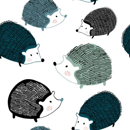 Seamless pattern with ink drawn hedgehogs. Creative scandinavian background. Perfect for kids apparel,fabric, textile, nursery decoration,wrapping paper.Vector Illustration Zdjęcie Seryjne - 109985436