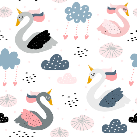 Seamless childish pattern with swan unicorn on white background. Creative nursery texture. Perfect for kids design, fabric, wrapping, wallpaper, textile, apparel