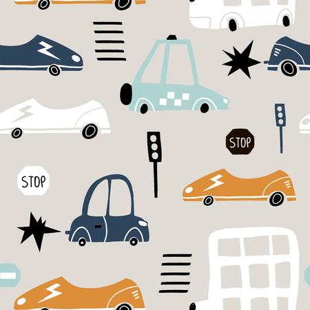 Modèle sans couture avec voiture mignonne dessinée à la main. Voitures de dessin animé, panneau de signalisation, illustration vectorielle de passage clouté.Parfait pour les enfants tissu, textile, papier peint de crèche Vecteurs