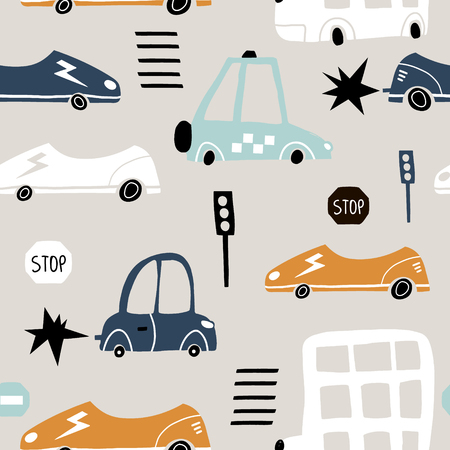 Seamless pattern with hand drawn cute car. Cartoon cars, road sign,zebra crossing vector illustration.Perfect for kids fabric,textile,nursery wallpaper Vectores