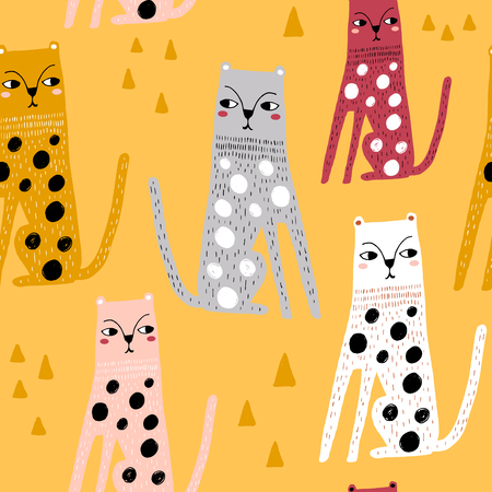 Motif enfantin sans couture avec léopards drôles. Texture créative d'enfants scandinaves pour tissu, emballage, textile, papier peint, vêtements. Illustration vectorielle