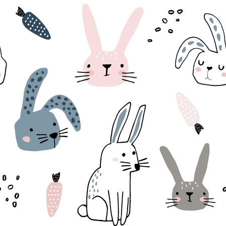 Nahtloses Muster mit niedlichen Hasen und Karotten. Kreativer kindlicher Hintergrund. Vervollkommnen Sie für Kinderbekleidung, Stoff, Textil, Kinderzimmerdekoration, Geschenkpapier. Vektor-Illustration Vektorgrafik