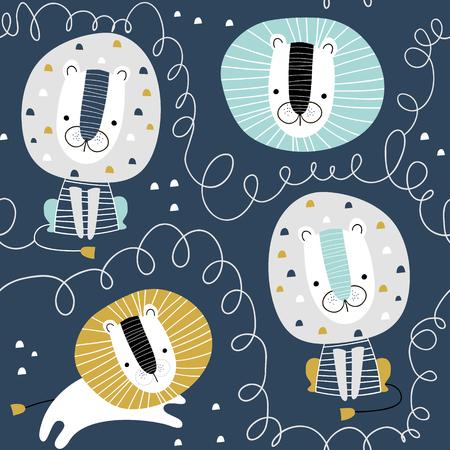 Nahtloses kindliches Muster mit niedlichen Löwen. Kreative Kindertextur für Stoff, Verpackung, Textil, Tapete, Bekleidung. Vektorillustration Vektorgrafik