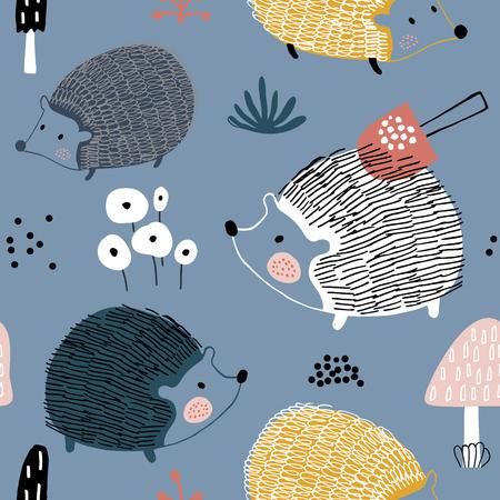 Nahtloses Muster mit Igeln und Pilzen. Kreativer skandinavischer Hintergrund. Vervollkommnen Sie für Kinderbekleidung, Stoff, Textil, Kinderzimmerdekoration, Geschenkpapier. Vektor-Illustration