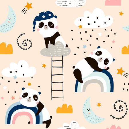 Patrón sin fisuras con lindos pandas durmientes, luna, arco iris, nubes. Fondo creativo de buenas noches. Perfecto para ropa de niños, telas, textiles, decoración de guardería, papel de regalo.Ilustración de vector Ilustración de vector