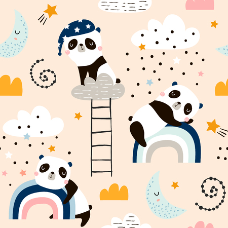 Seamless pattern with cute sleeping pandas, moon, rainbows, clouds. Creative good night background. Perfect for kids apparel,fabric, textile, nursery decoration,wrapping paper.Vector Illustration 向量圖像