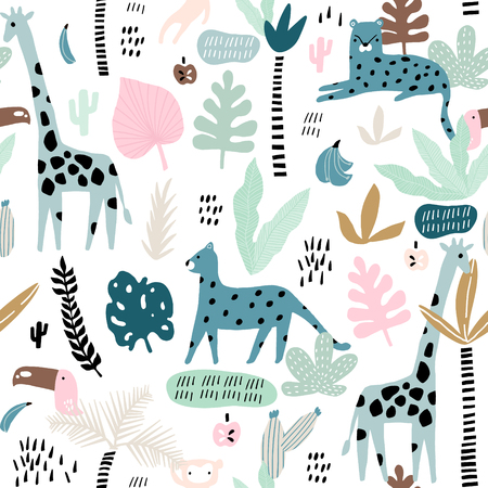 Seamless pattern with giraffe, leopard,tucan, monkey and tropical elements. Creative jungle childish texture. Great for fabric, textile Vector Illustration Ilustração