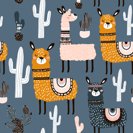 Seamless pattern with cute llamas ans cactuses. Creative hand drawn llama childish texture. Great for fabric, textile Vector Illustration