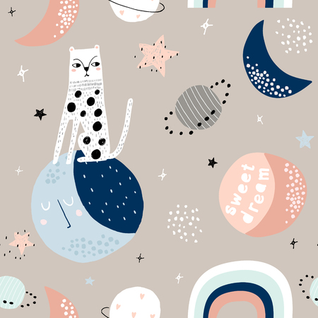 Seamless childish pattern with cat on moon and starry sky. Creative kids texture for fabric, wrapping, textile, wallpaper, apparel. Vector illustration Ilustração