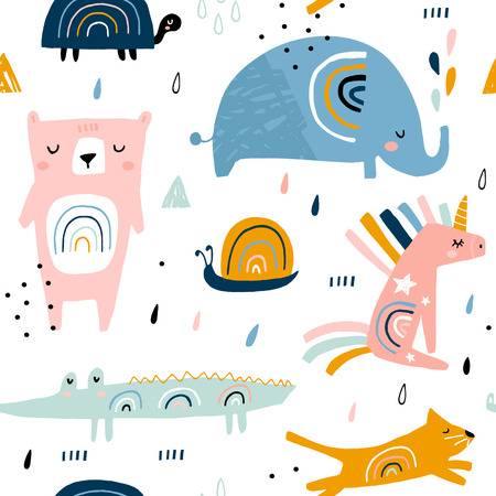 Seamless childish pattern with funny rainbow animals . Creative scandinavian kids texture for fabric, wrapping, textile, wallpaper, apparel. Vector illustration Vector Illustration