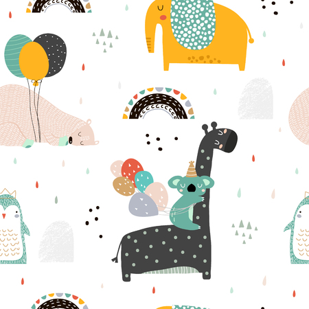 Seamless childish pattern with party animals . Creative scandinavian kids texture for fabric, wrapping, textile, wallpaper, apparel. Vector illustration Ilustracja