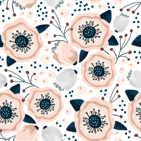 Seamless pattern with flowers in pastel colors. Creative floral texture. Great for fabric, textile Vector Illustration 版權商用圖片 - 117530843