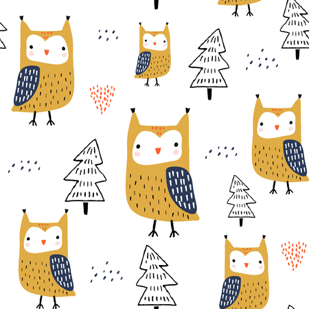 Seamless pattern with owls and trees. Creative woodland childish texture. Great for fabric, textile Vector Illustration Çizim