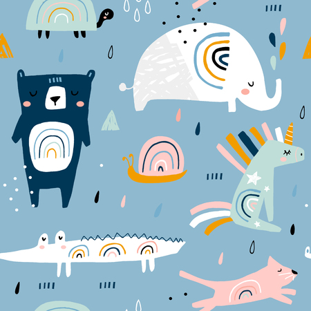 Seamless childish pattern with funny rainbow animals . Creative scandinavian kids texture for fabric, wrapping, textile, wallpaper, apparel. Vector illustration