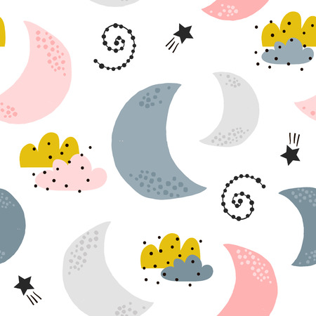 Seamless childish pattern with moons, clouds, stars. Creative kids texture for fabric, wrapping, textile, wallpaper, apparel. Vector illustration Ilustração
