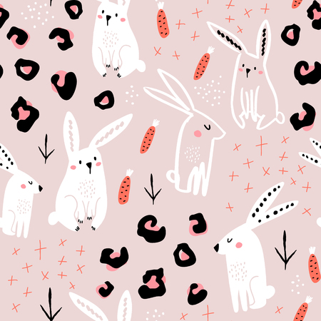 Seamless pattern with cute hand drawn bunny, leopard dots, carrots . Creative jungle childish texture. Great for fabric, textile Vector Illustration