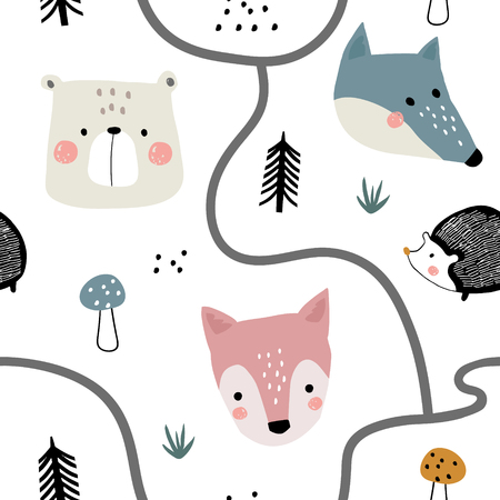 Semless woodland pattern with cute animal faces and hand drawn elements. Scandinaviann style childish texture for fabric, textile, apparel, nursery decoration. Vector illustration Ilustração