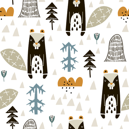 Semless woodland pattern with badgers n and hand drawn elements. Scandinaviann style childish texture for fabric, textile, apparel, nursery decoration. Vector illustration