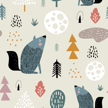 Semless woodland pattern with wolf, moon and hand drawn elements. Scandinaviann style childish texture for fabric, textile, apparel, nursery decoration. Vector illustration