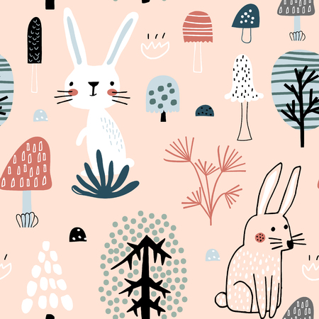 Semless woodland pattern with cute rabbits. Scandinaviann style childish texture for fabric, textile, apparel, nursery decoration. Vector illustration