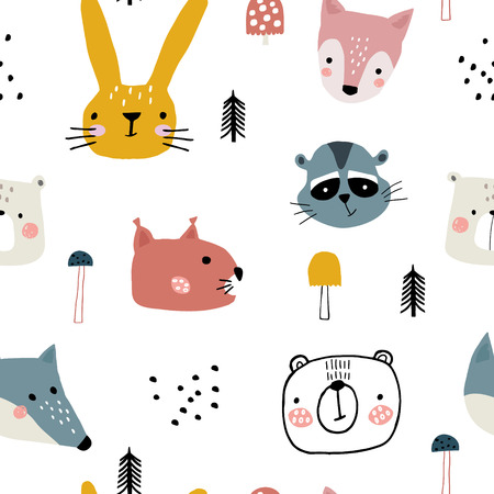 Semless woodland pattern with cute animal faces and hand drawn elements. Scandinaviann style childish texture for fabric, textile, apparel, nursery decoration. Vector illustration Stock Photo