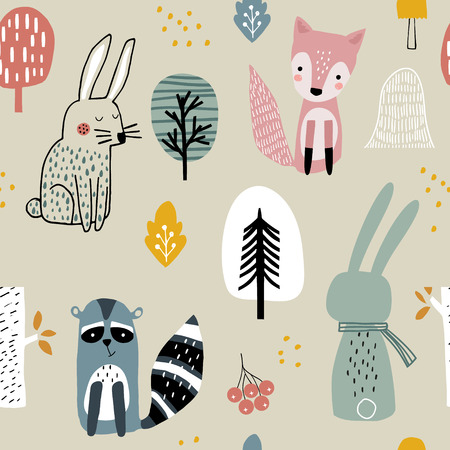 Semless woodland pattern with raccoon,fox,bunny and hand drawn elements. Scandinaviann style childish texture for fabric, textile, apparel, nursery decoration. Vector illustration Foto de archivo - 110689149