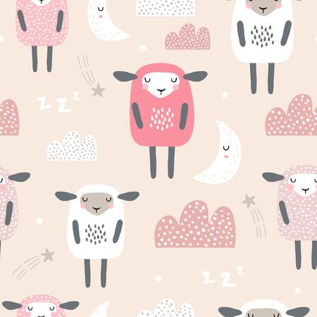 Modello senza cuciture con simpatiche pecore addormentate, luna, nuvole. Sfondo creativo buona notte. Perfetto per abbigliamento per bambini, tessuto, tessuto, decorazione per la scuola materna, carta da imballaggio. Illustrazione vettoriale
