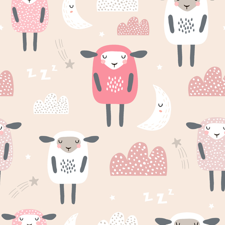 Patrón sin fisuras con lindas ovejas durmientes, luna, nubes. Fondo creativo de buenas noches. Perfecto para ropa de niños, telas, textiles, decoración de guardería, papel de regalo.Ilustración de vector