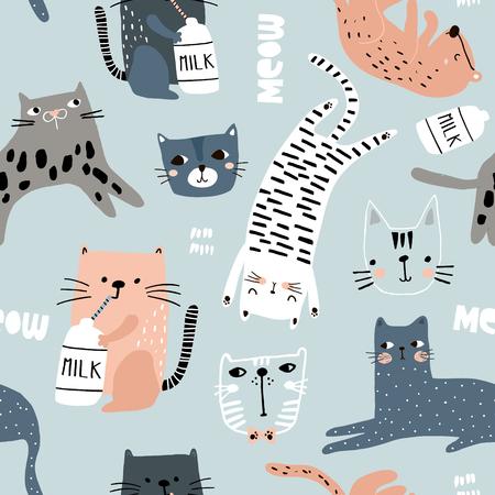 Modello senza cuciture con diversi gatti divertenti. Trama infantile creativa. Ottimo per tessuto, illustrazione vettoriale tessile