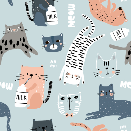 Nahtloses Muster mit verschiedenen lustigen Katzen. Kreative kindliche Textur. Ideal für Stoff, Textil-Vektor-Illustration
