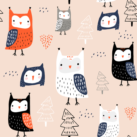 Seamless pattern with owls and trees. Creative woodland childish texture. Great for fabric, textile Vector Illustration Ilustração