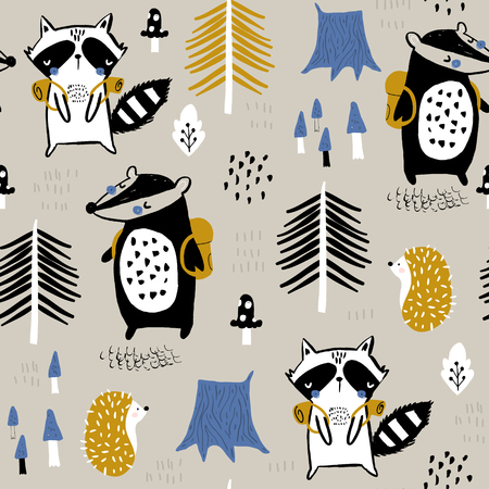 Seamless childish pattern with tourist raccoon with beaver in the forest. Creative kids woodland for fabric, wrapping, textile, wallpaper, apparel. Vector illustration Ilustração