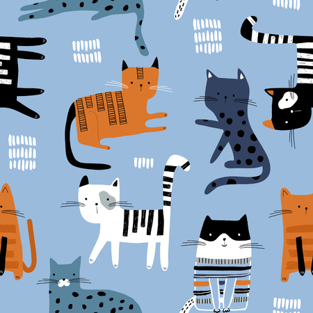 Seamless pattern with cute colorful Kittens. Creative childish texture. Great for fabric, textile Vector Illustration