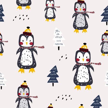Seamless winter pattern with cute penguins. Creative childish texture. Great for fabric, textile Vector Illustration
