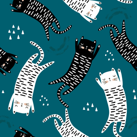 Naadloos patroon met verschillende grappige katten. Creatieve kinderachtige textuur. Geweldig voor stof, textiel vectorillustratie
