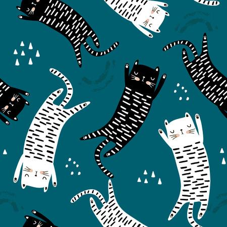 Patrón sin fisuras con diferentes gatos graciosos. Textura infantil creativa. Ideal para tela, textil ilustración vectorial