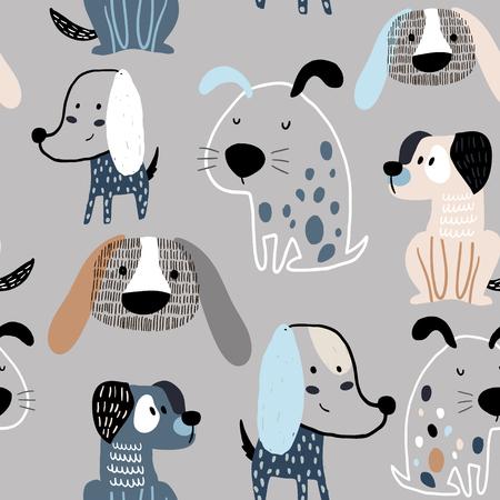 Patrón infantil sin fisuras con divertidos perros creativos. Fondo de vector escandinavo de moda. Perfecto para ropa infantil, tela, textil, decoración de guardería, papel de regalo.