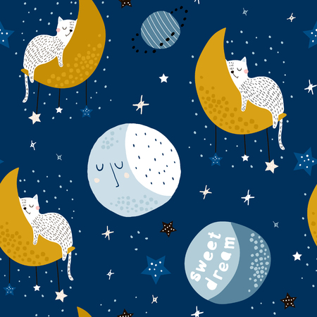 Seamless childish pattern with cats on moons and starry sky. Creative kids texture for fabric, wrapping, textile, wallpaper, apparel. Vector illustration