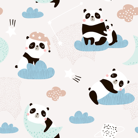 Seamless pattern with cute sleeping pandas, moon, rainbows, clouds. Creative good night background. Perfect for kids apparel,fabric, textile, nursery decoration,wrapping paper.Vector Illustration Vectores