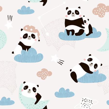 Patrón sin fisuras con lindos pandas durmientes, luna, arco iris, nubes. Fondo creativo de buenas noches. Perfecto para ropa de niños, telas, textiles, decoración de guardería, papel de regalo.Ilustración de vector