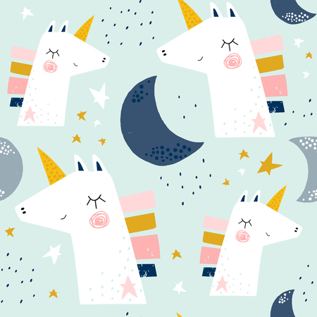 Seamless childish pattern with cute unicorns and moons . Creative scandinavian kids texture for fabric, wrapping, textile, wallpaper, apparel. Vector illustration