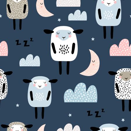 Modello senza cuciture con simpatiche pecore addormentate, luna, nuvole. Sfondo creativo buona notte. Perfetto per abbigliamento per bambini, tessuto, tessuto, decorazione per la scuola materna, carta da imballaggio. Illustrazione vettoriale Vettoriali