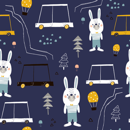 Seamless pattern with cute bunny, cartoon car, and woodland elements. Creative zoo childish texture. Great for fabric, textile Vector Illustration