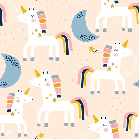 Modello infantile senza soluzione di continuità con simpatici unicorni e lune. Trama creativa per bambini scandinavi per tessuti, confezioni, tessuti, carta da parati, abbigliamento. Illustrazione vettoriale