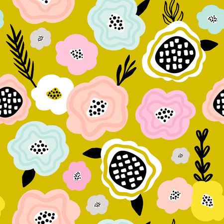 Seamless floral pattern. Creative floral texture. Great for fabric, textile Vector Illustration Ilustração