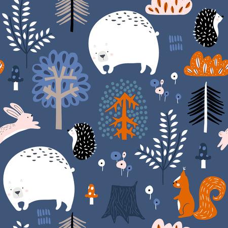 Naadloos kinderachtig patroon met beer, eekhoorn, egel, konijntje in het bos. Creatief kinderbos voor stof, verpakking, textiel, behang, kleding. vector illustratie