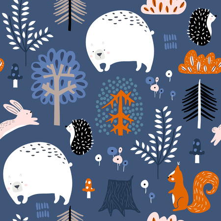 Nahtloses kindisches Muster mit Bären, Eichhörnchen, Igeln, Häschen im Wald. Kreativer Kinderwald für Stoff, Verpackung, Textilien, Tapeten, Bekleidung. Vektor-Illustration