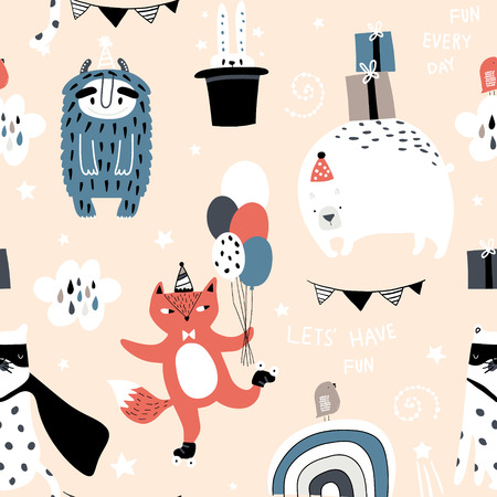 Seamless childish pattern with cute monster, fox, bear, leopard and party elements. Creative kids texture for fabric, wrapping, textile, wallpaper, apparel. Vector illustration